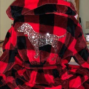 PINK Lumber Jack Red & Black Bling Robe NWOT!